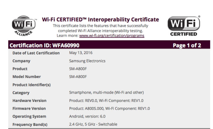 wifi certification samsung galaxy a8 marshmallow philippines