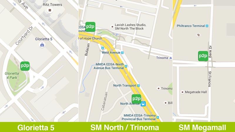 Premium P2P Point to Point Bus Edsa Pick Up Points pickup SM Megamall North Trinoma Glorietta 5
