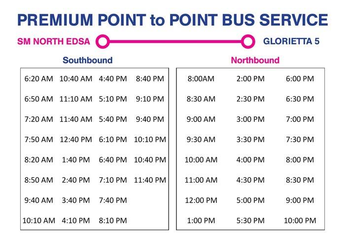 SM North EDSA to Glorietta 5 Premium P2P Point to Point Bus Schedule North and South Bound