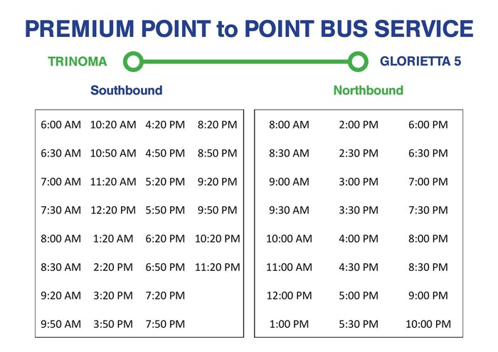 Trinoma to Glorietta 5 Premium P2P Point to Point Bus Schedule North and South Bound