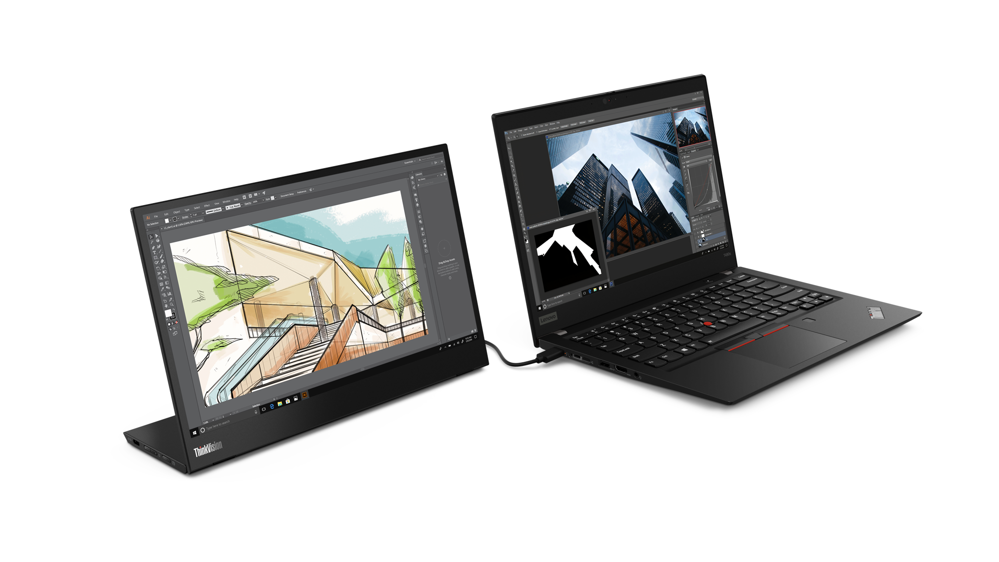 02_Thinkvision_M14_Hero_With_Laptop_Right_Handed_User
